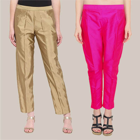 Combo of 2 Taffeta Silk Ankle Length Pant Golden and Magenta Pink-34550