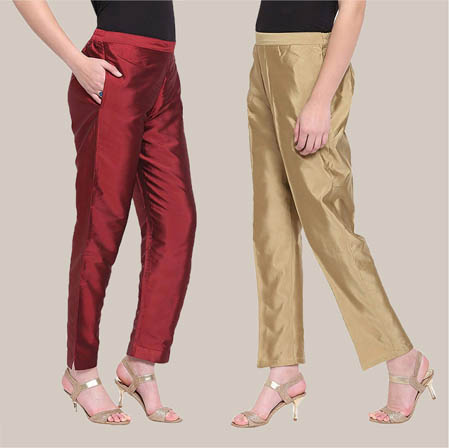 Combo of 2 Taffeta Silk Ankle Length Pant Golden and Maroon-34540