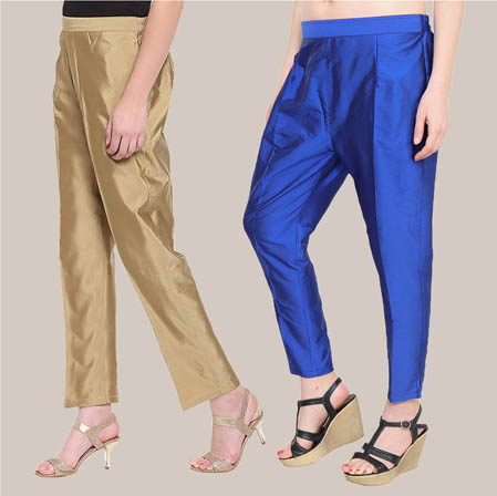 Combo of 2 Taffeta Silk Ankle Length Pant Golden and Navy Blue-34549