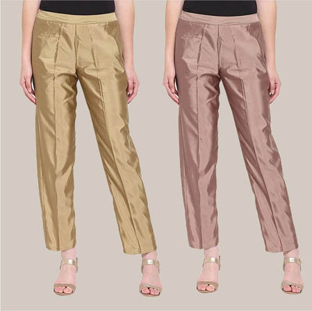 Combo of 2 Taffeta Silk Ankle Length Pant Golden and Peach-34548