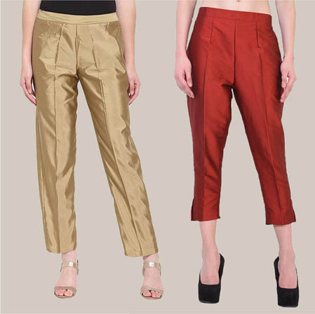 Combo of 2 Taffeta Silk Ankle Length Pant Golden and Red-34542