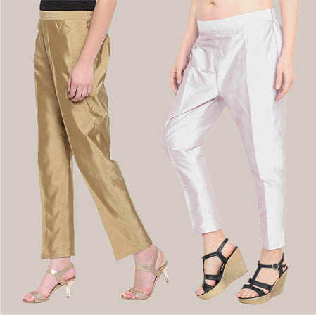 Combo of 2 Taffeta Silk Ankle Length Pant Golden and Silver-34544