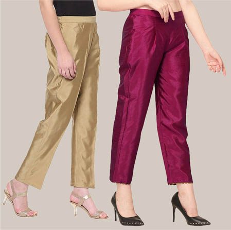 Combo of 2 Taffeta Silk Ankle Length Pant Golden and Wine-34536