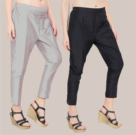 Combo of 2 Taffeta Silk Ankle Length Pant Gray and Black-34575