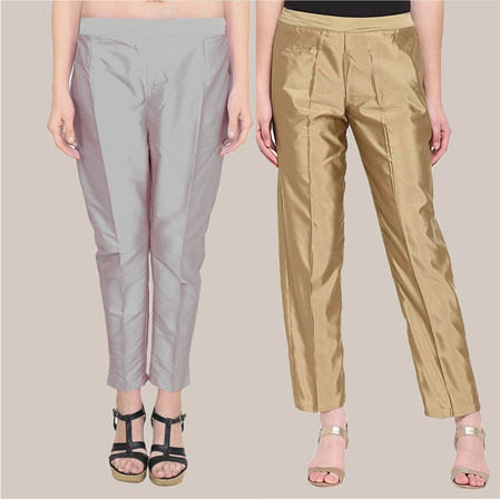 Combo of 2 Taffeta Silk Ankle Length Pant Gray and Golden-34574