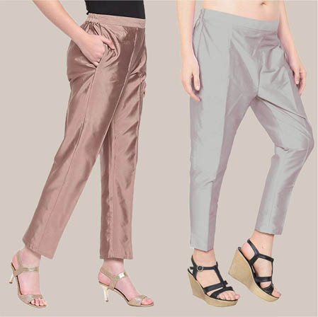 Combo of 2 Taffeta Silk Ankle Length Pant Gray and Peach-34580