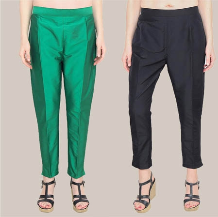 Combo of 2 Taffeta Silk Ankle Length Pant Green and Black-34559