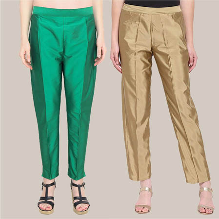 Combo of 2 Taffeta Silk Ankle Length Pant Green and Golden-34561