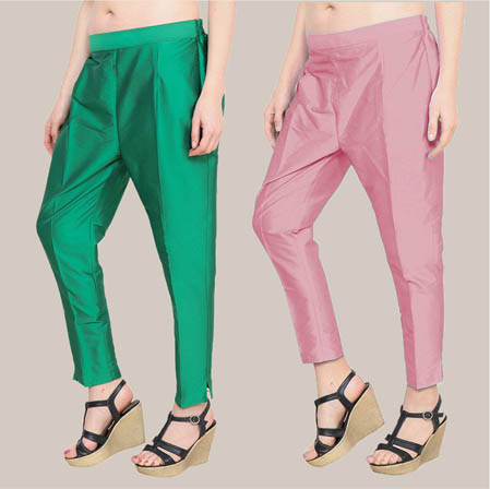 Combo of 2 Taffeta Silk Ankle Length Pant Green and Peach-34562