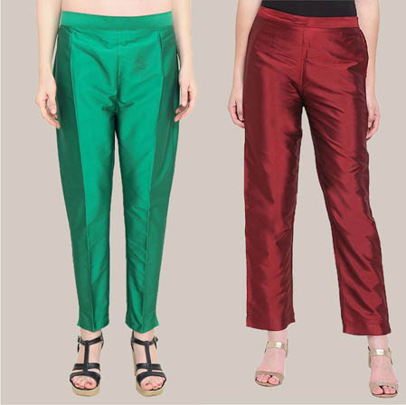 Combo of 2 Taffeta Silk Ankle Length Pant Green and Wine-34560