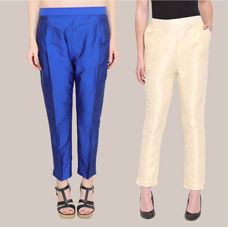 Combo of 2 Taffeta Silk Ankle Length Pant Navy Blue and Beige-34586