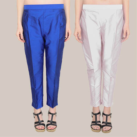 Combo of 2 Taffeta Silk Ankle Length Pant Navy Blue and Silver-34588