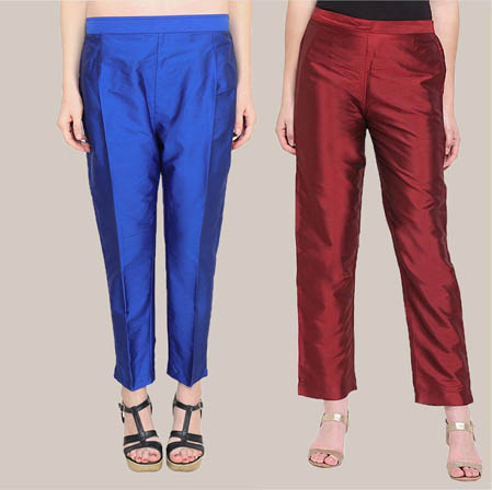 Combo of 2 Taffeta Silk Ankle Length Pant Navy Blue and Wine-34585