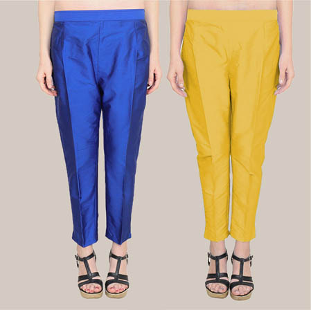 Combo of 2 Taffeta Silk Ankle Length Pant Navy Blue and Yellow-34587