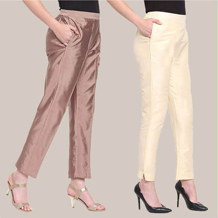 Combo of 2 Taffeta Silk Ankle Length Pant Peach and Beige-34581