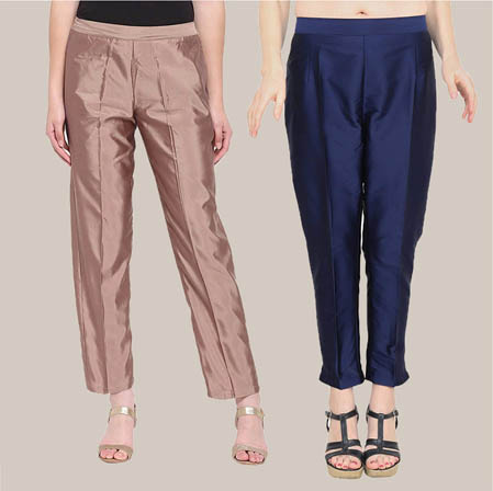 Combo of 2 Taffeta Silk Ankle Length Pant Peach and Blue-34579