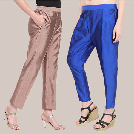 Combo of 2 Taffeta Silk Ankle Length Pant Peach and Blue-34583