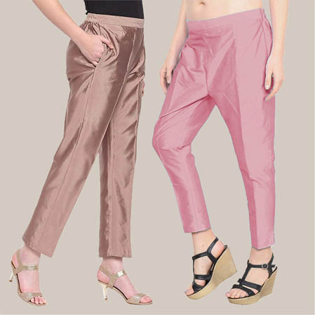 Combo of 2 Taffeta Silk Ankle Length Pant Peach and Pink-34582