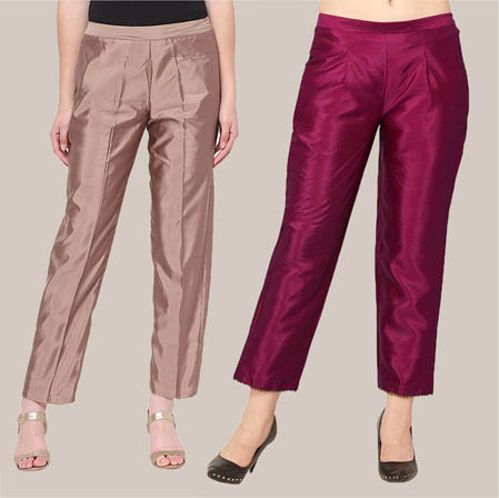 Combo of 2 Taffeta Silk Ankle Length Pant Peach and Purple-34584