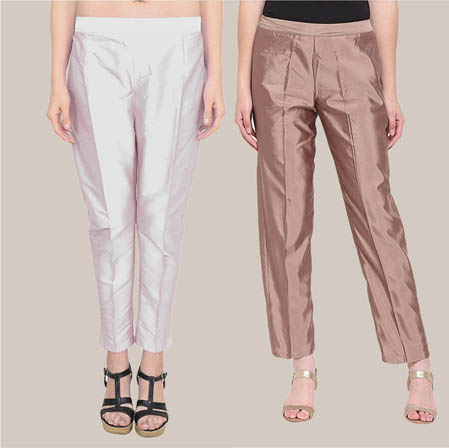 Combo of 2 Taffeta Silk Ankle Length Pant Silver and Peach-34573