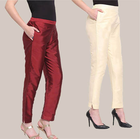 Combo of 2 Taffeta Silk Ankle Length Pant Wine and Beige-34556