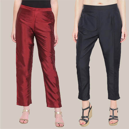 Combo of 2 Taffeta Silk Ankle Length Pant Wine and Black-34552