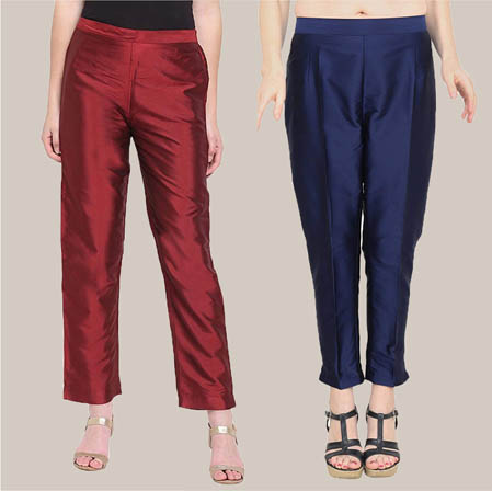 Combo of 2 Taffeta Silk Ankle Length Pant Wine and Blue-34554
