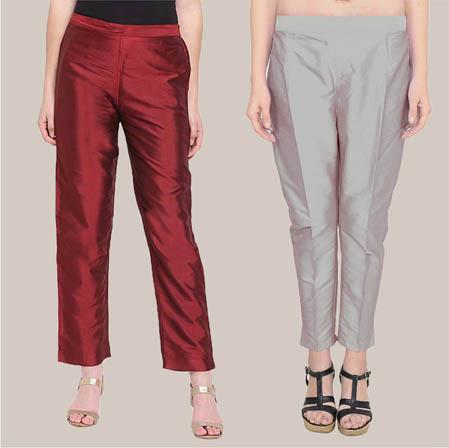 Combo of 2 Taffeta Silk Ankle Length Pant Wine and Gray-34558
