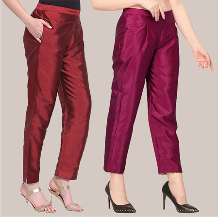 Combo of 2 Taffeta Silk Ankle Length Pant Wine and Purple-34551