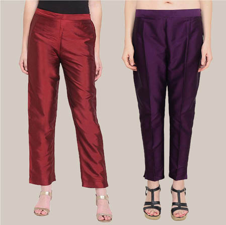Combo of 2 Taffeta Silk Ankle Length Pant Wine and Purple-34553