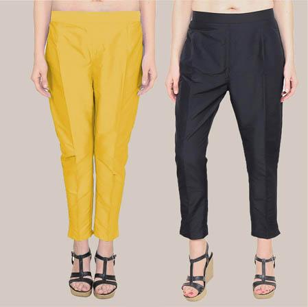 Combo of 2 Taffeta Silk Ankle Length Pant Yellow and Black-34591