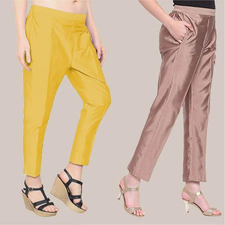 Combo of 2 Taffeta Silk Ankle Length Pant Yellow and Peach-34589