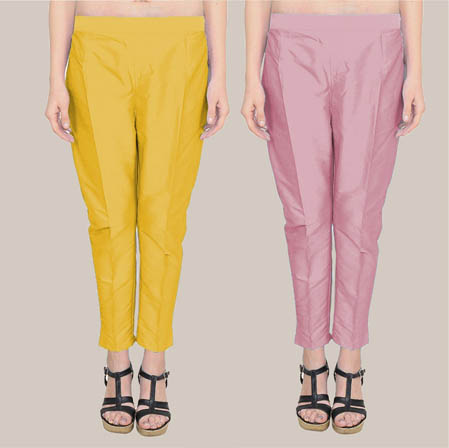 Combo of 2 Taffeta Silk Ankle Length Pant Yellow and Pink-34590