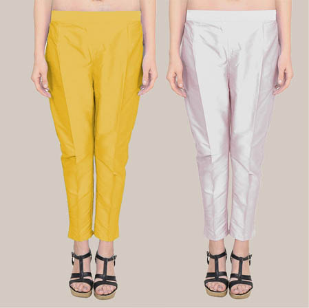 Combo of 2 Taffeta Silk Ankle Length Pant Yellow and Silver-34592