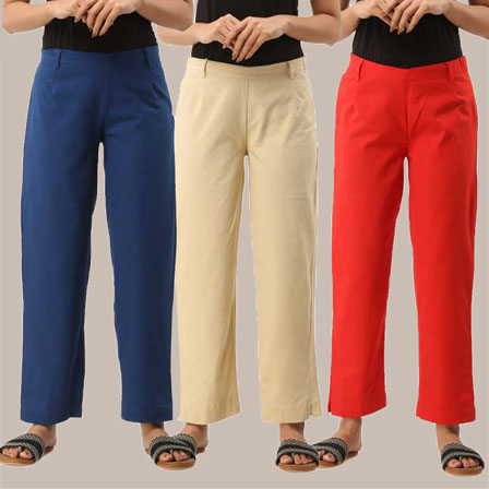 Combo of 3 Ankle Length Pants-Blue Beige and Red Cotton Samray-33824