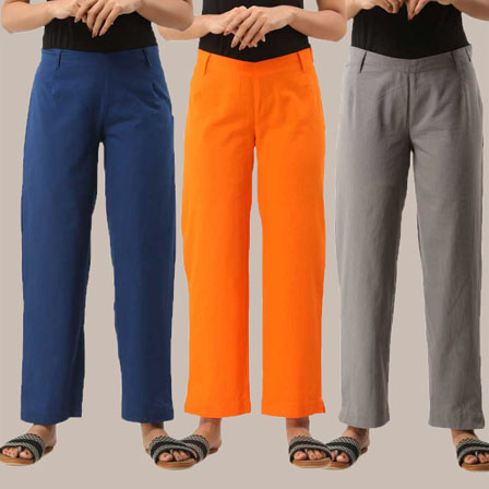 Combo of 3 Ankle Length Pants-Blue Orange and Gray Cotton Samray-33825