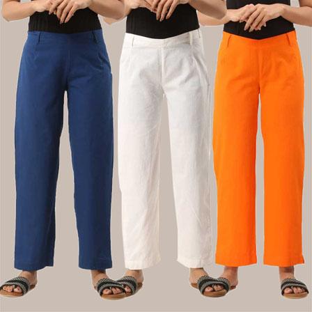 Combo of 3 Ankle Length Pants-Blue White and Orange Cotton Samray-33828