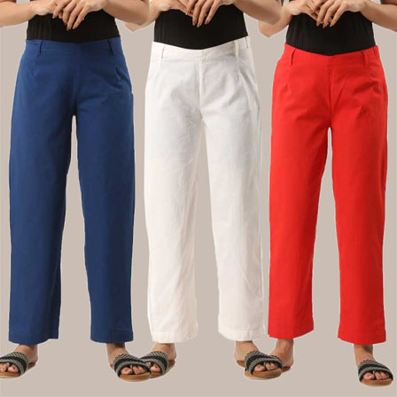 Combo of 3 Ankle Length Pants-Blue White and Red Cotton Samray-33827