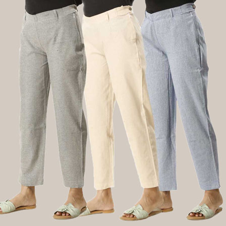 Combo of 3 Ankle Length Pants-Gray Beige and Blue Cotton Samray-33818