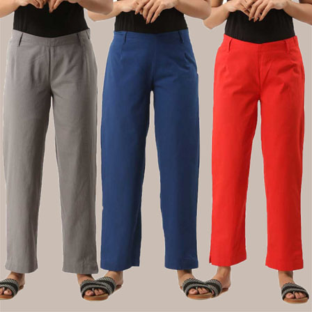 Combo of 3 Ankle Length Pants-Gray Blue and Red Cotton Samray-33829