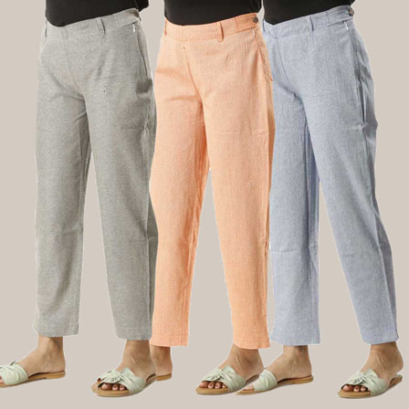 Combo of 3 Ankle Length Pants-Gray Orange and Blue Cotton Samray-33815