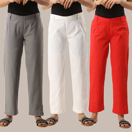 Combo of 3 Ankle Length Pants-Gray White and Red Cotton Samray-33830