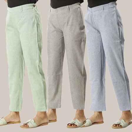 Combo of 3 Ankle Length Pants-Green Gray and Blue Cotton Samray-33821