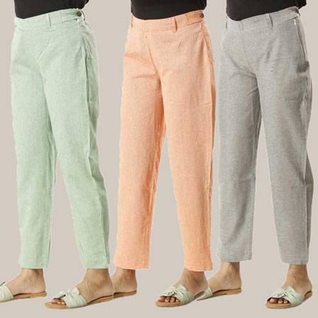 Combo of 3 Ankle Length Pants-Green Orange and Gray Cotton Samray-33820