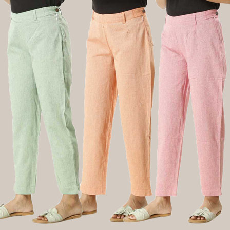 Combo of 3 Ankle Length Pants-Green Orange and Pink Cotton Samray-33819
