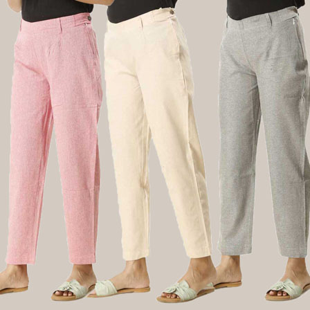 Combo of 3 Ankle Length Pants-Pink Beige and Gray Cotton Samray-33823