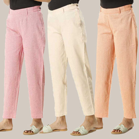 Combo of 3 Ankle Length Pants-Pink Beige and Orange Cotton Samray-33822