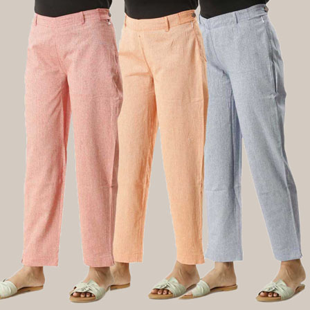 Combo of 3 Ankle Length Pants-Pink Orange and Gray Cotton Samray-33816
