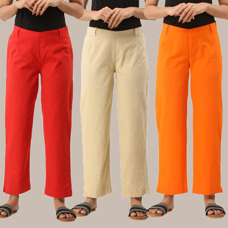 Combo of 3 Ankle Length Pants-Red Beige and Orange Cotton Samray-33832