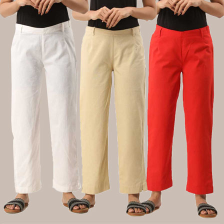 Combo of 3 Ankle Length Pants-White Beige and Red Cotton Samray-33833